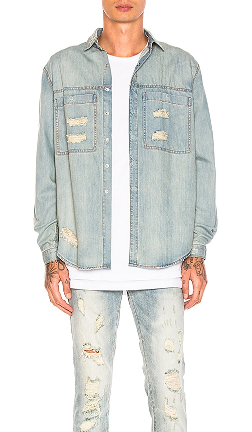 Stampd Distressed Against Denim Shirt in Washed Indigo