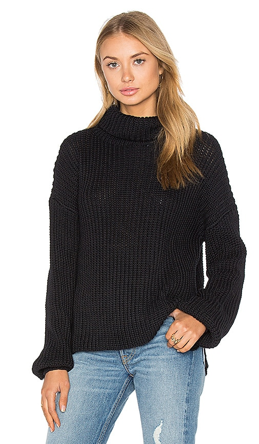 Steele Zacharay Roll Neck Knit Sweater in Black