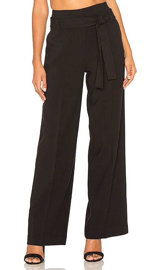 STELLA FOREST Wide Leg Tied Waist Pant in Black