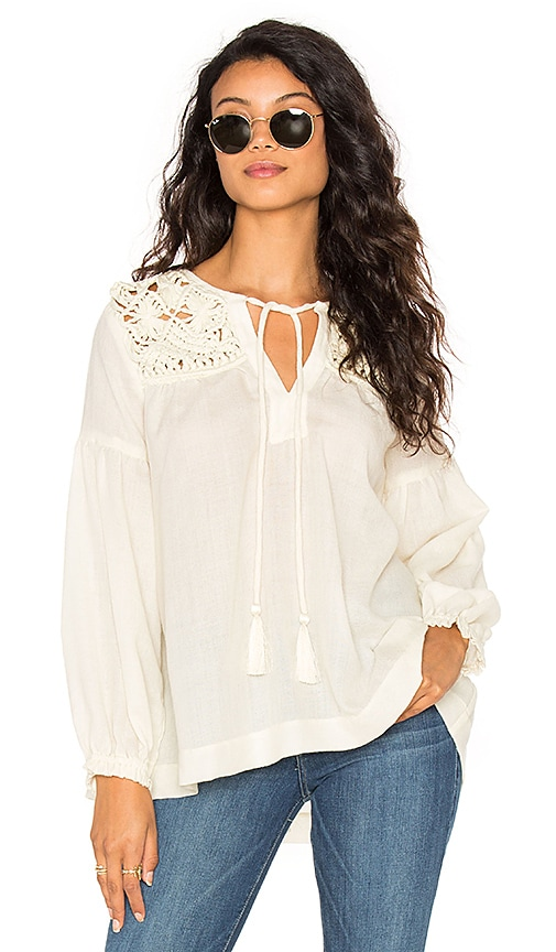STELLA FOREST Long Sleeve Tied Neck Blouse in Ivory