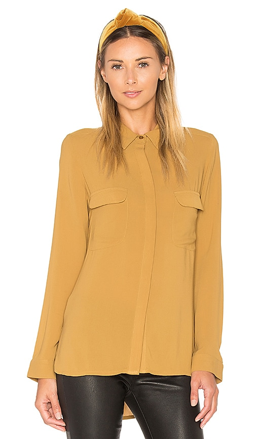 STELLA FOREST Button Down Top in Tan