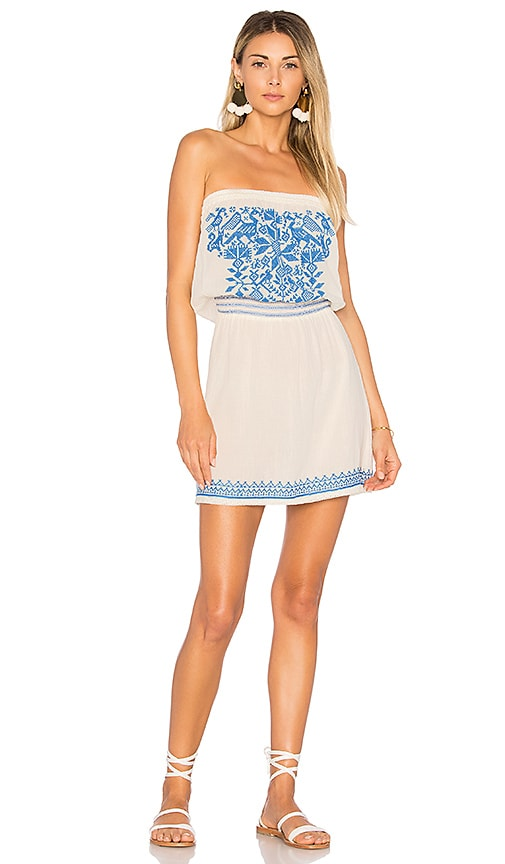 Star Mela Paz Embroidered Sundress in Ivory