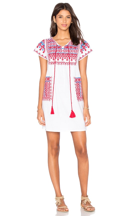 Star Mela Lina Embroidered Dress in White