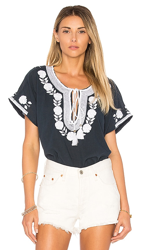 Star Mela Lani Embroidered Top in Navy