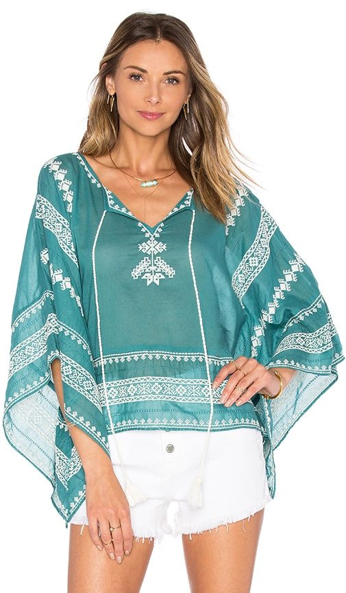 Star Mela Letti Embroidered Top in Teal