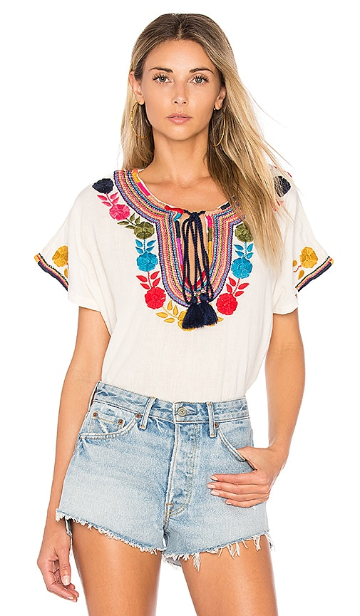 Star Mela Lani Embroidered Top in Cream
