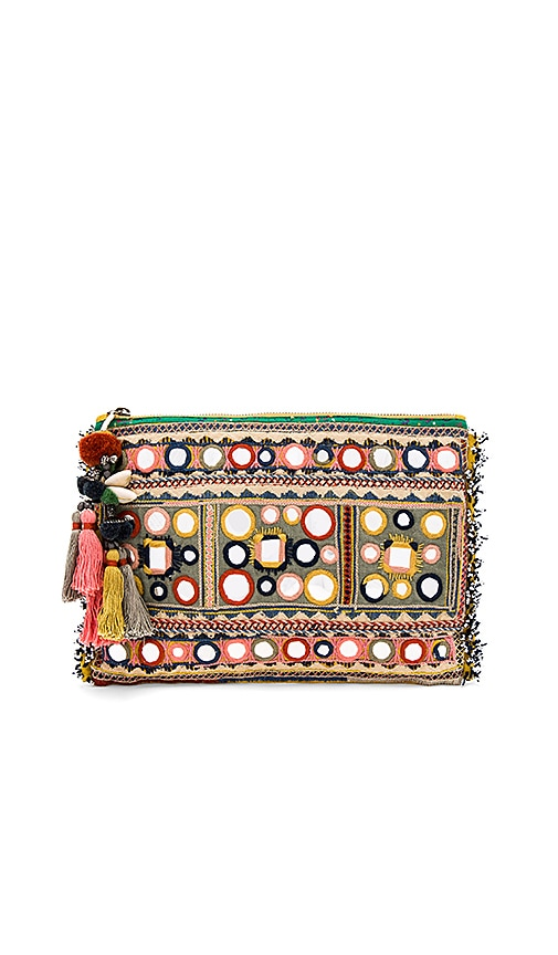 Star Mela Lipika Embroidered Clutch in Mustard