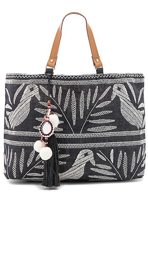 Star Mela Isi Embroidered Tote Bag in Charcoal