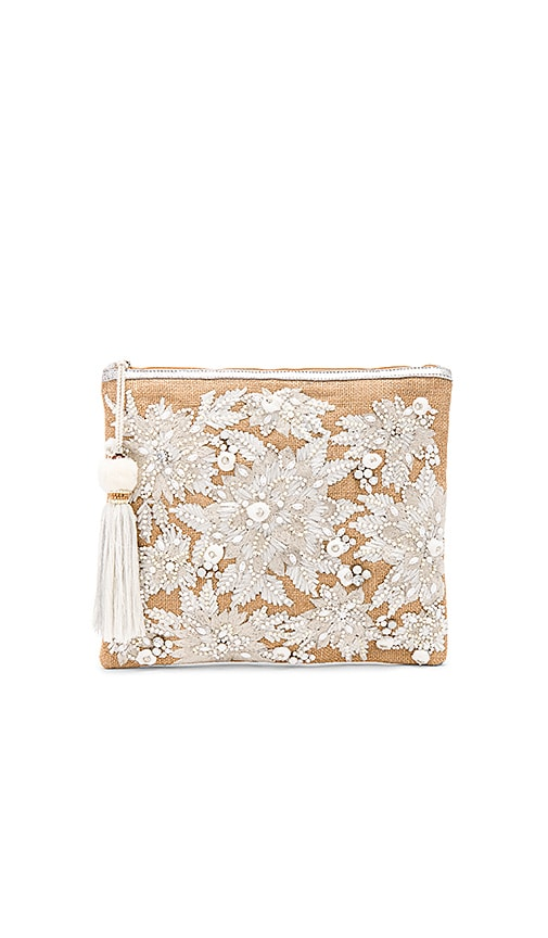 Star Mela Mansi Embroidered Clutch in Beige