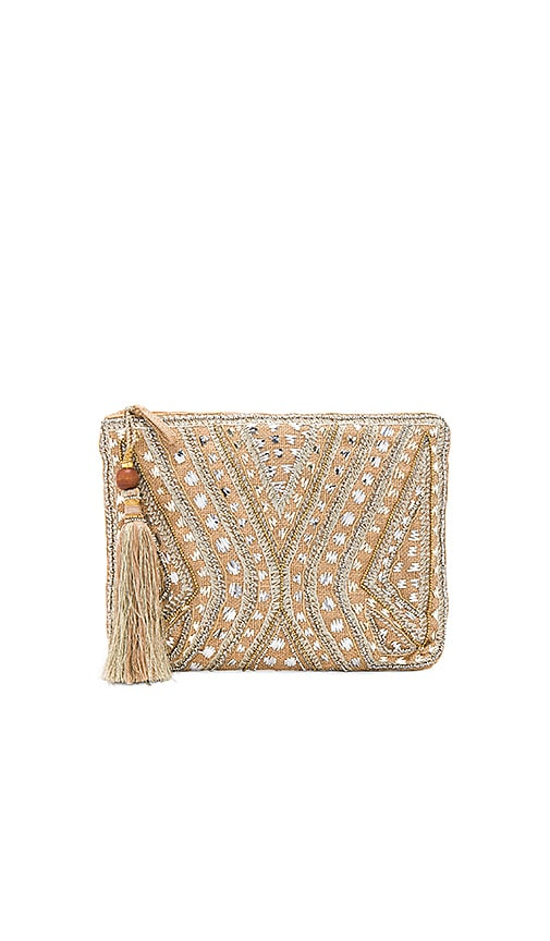 Star Mela Mukti Embroidered Clutch in Beige