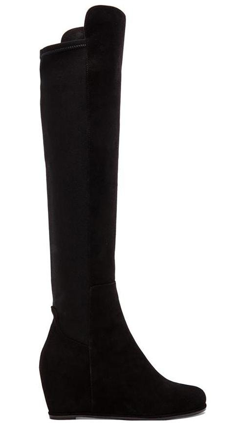 Stuart Weitzman Semi Stretch Suede Boot in Black