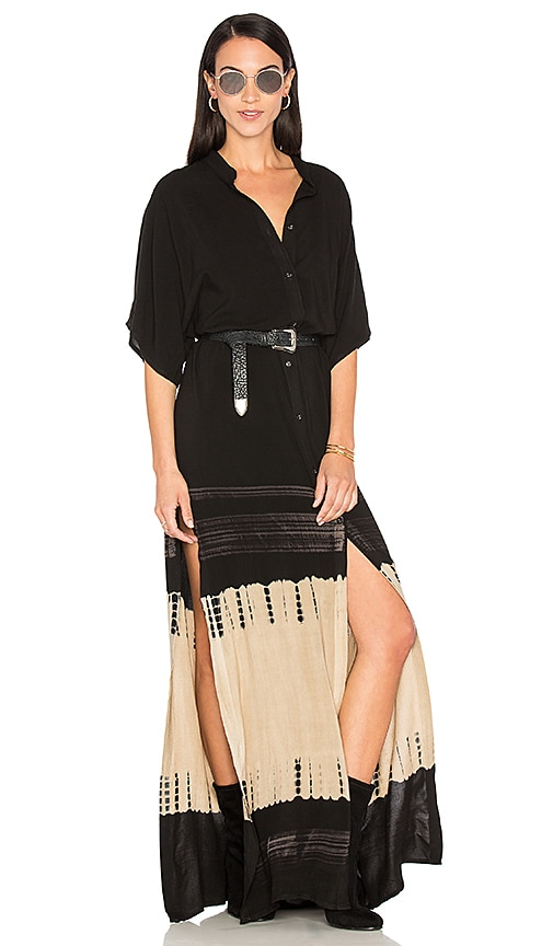 Stillwater High Slit Shirt Dress in Black