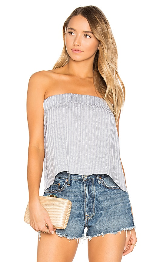 Suboo Sky Strapless Pleat Top in Blue