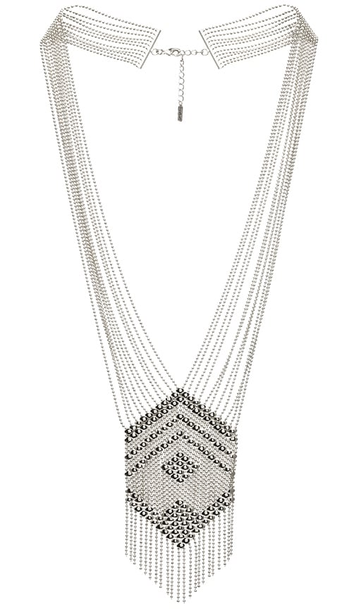 SunaharA Beaded Chandelier Necklace in Silver
