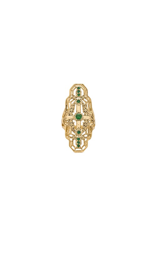 SunaharA Alchemy Ring in Gold & Emerald