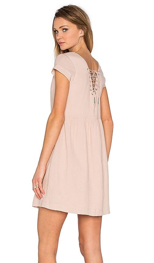 SUNCOO Chouki Lace Up Back Dress in Blush