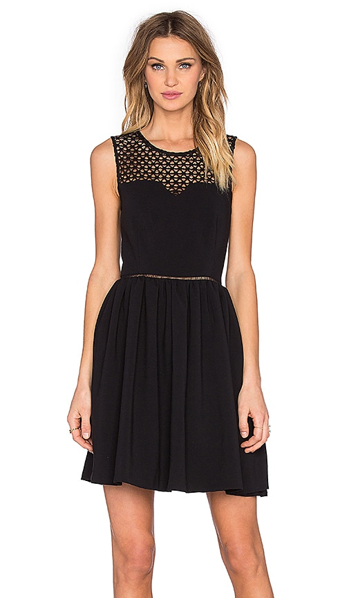 SUNCOO Celine Mini Dress in Black
