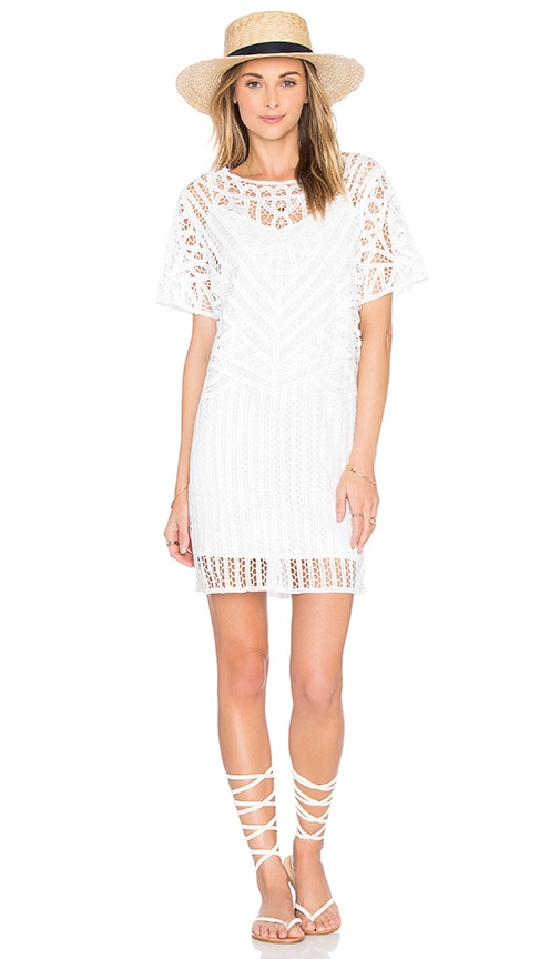 SUNCOO Corma Crochet Dress in White
