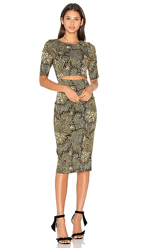 SUNO Cut Out Dress in Green