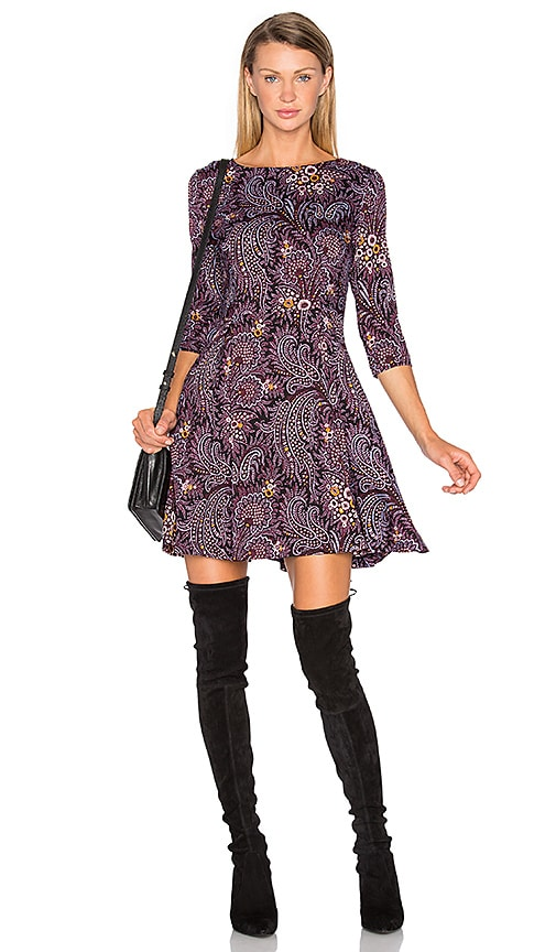 SUNO Fit And Flare Dress in Wine
