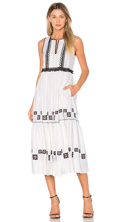 SUNO Cotton Leaf Maxi Dress in White
