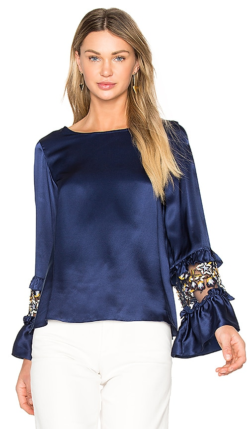 SUNO Ruffle Sleeve Top in Blue
