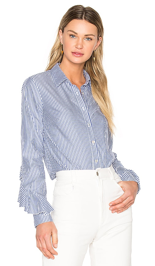 SUNO Ruffle Sleeve Button Down Shirt in Blue