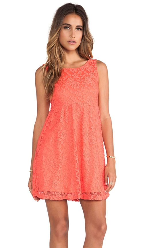 Coral Lace Scoop Back Dress