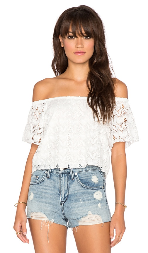 Surf Gypsy Crochet Off Shoulder Top in White