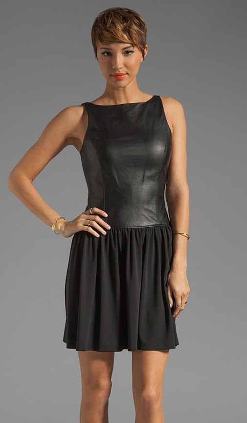 Leather Detail Boat Tank Dress
