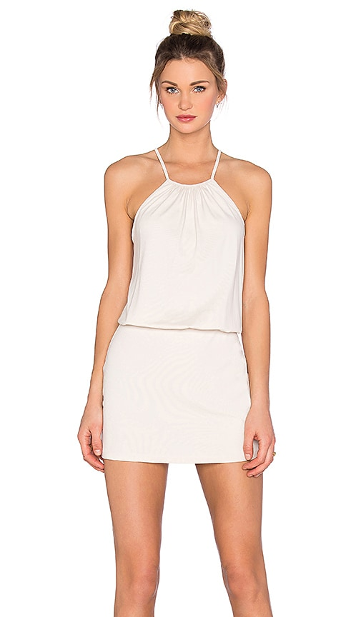 Susana Monaco Drape Mini Dress in Blanched Almond