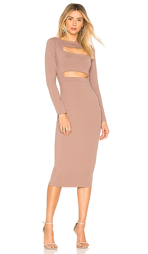 Susana Monaco Connor Front Cutout Dress in Taupe
