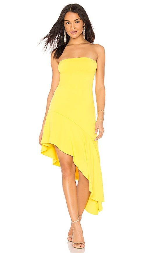 Susana Monaco Slit Hem Strapless Dress in Yellow