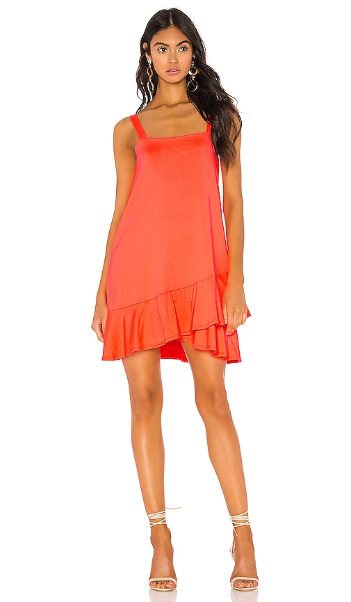 VESTIDO CROSSOVER RUFFLE WIDE STRAP DRESS