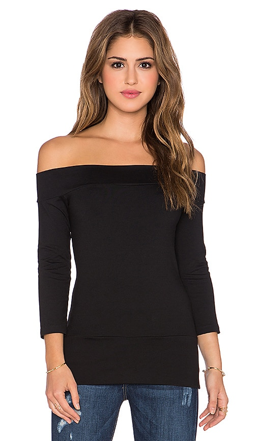 Susana Monaco Banded Off the Shoulder Top in Black