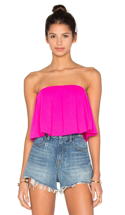 Susana Monaco Pleated Crop Top in Pink Glo