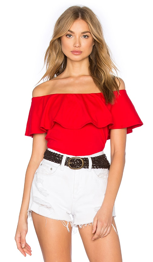 Susana Monaco Ruffle Off Shoulder Top in Red