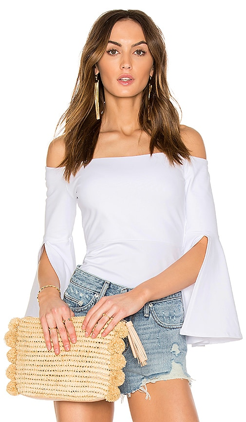 c428eee09fc Susana Monaco Off Shoulder Split Sleeve Top in Sugar