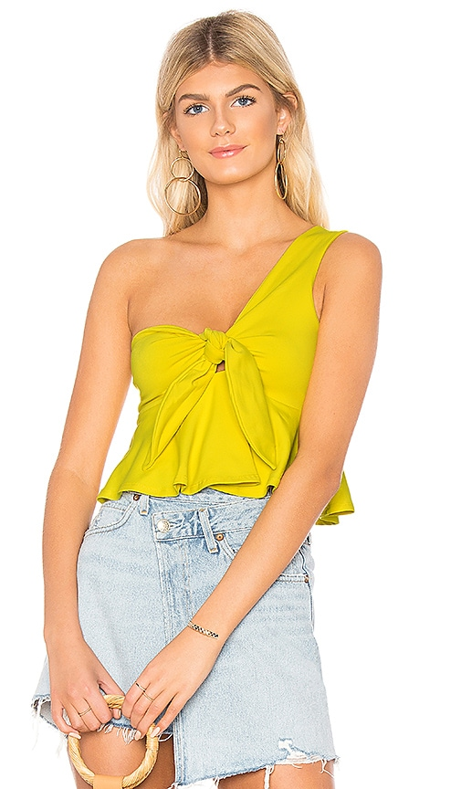 Susana Monaco Cropped Tie Front Top in Yellow