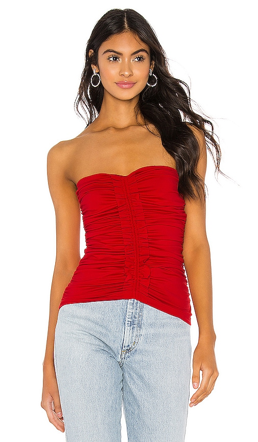 Strapless Ruffle Trim Ruched Top