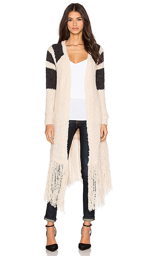 SUSS Whitney Fringe Cardigan in Cream