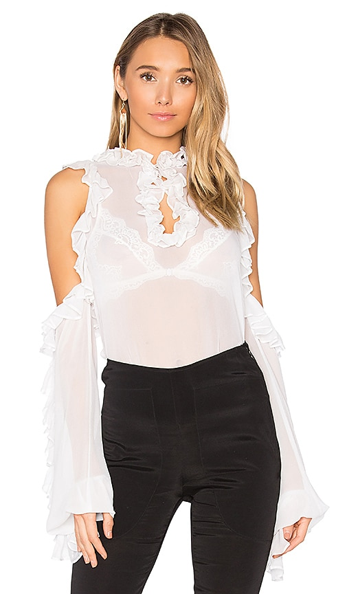 SWF Clover Sheer Top in White
