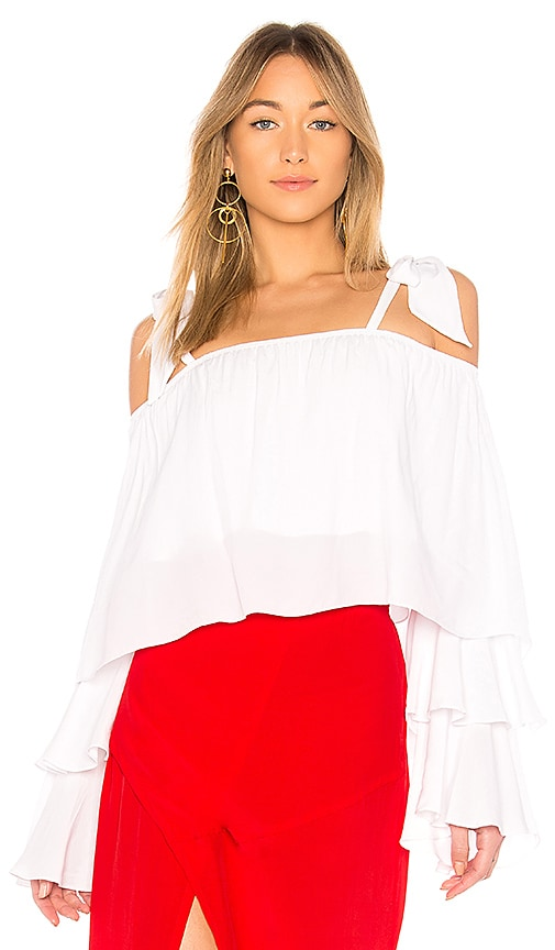 SWF Sabrina Ruffle Top in White