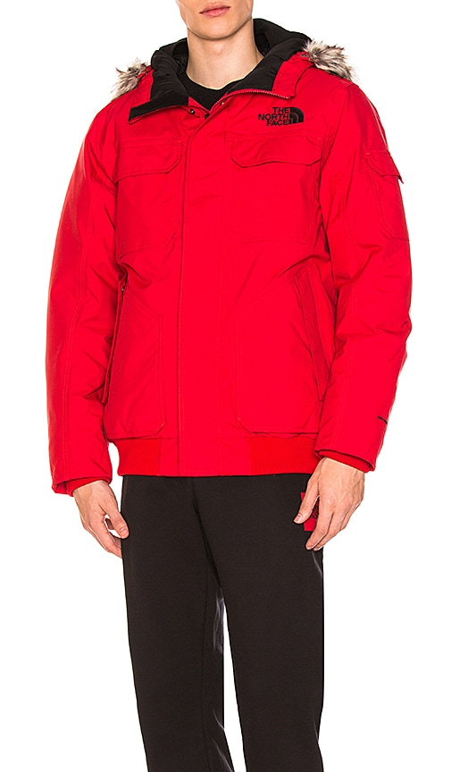 The North Face Gotham Jacket III With Faux Fur Trim in Red