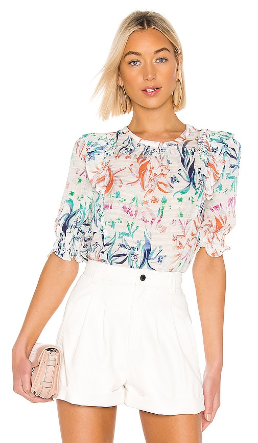 Martha Top In Botanical Floral White