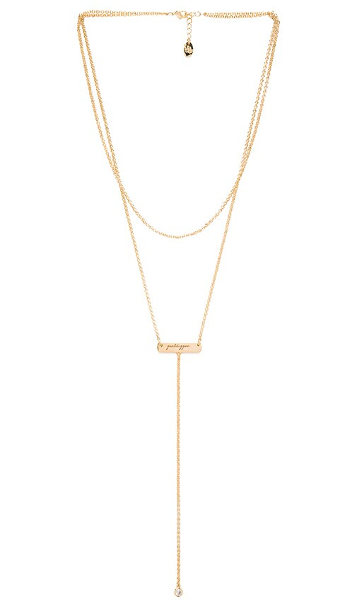 Tawnie & Brina Bar Goaldigger Lariat Necklace in Metallic Gold