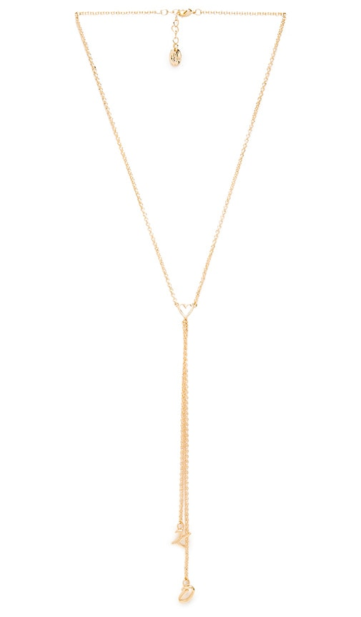 Tawnie & Brina XO Lariat Necklace in Metallic Gold