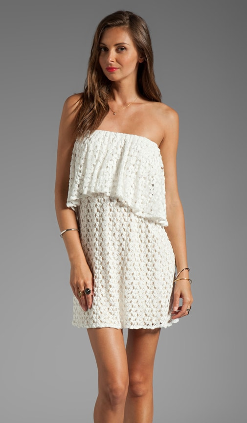 Tiered Strapless Crochet Mini Dress