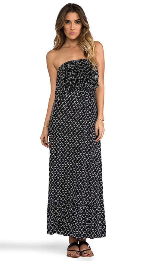 Diamond Print Strapless Maxi Dress
