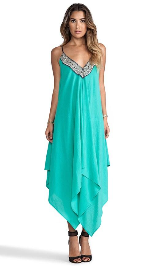 Embellished Asymmetrical Maxi Dress with Tonal Hem